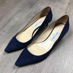 Jimmy Choo Navy Blue Suede Kitten Heels